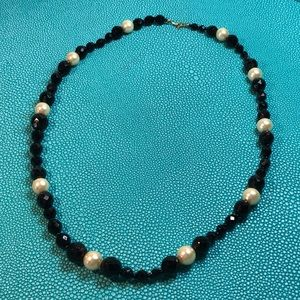 Vintage jet and pearl beaded necklace. 13""